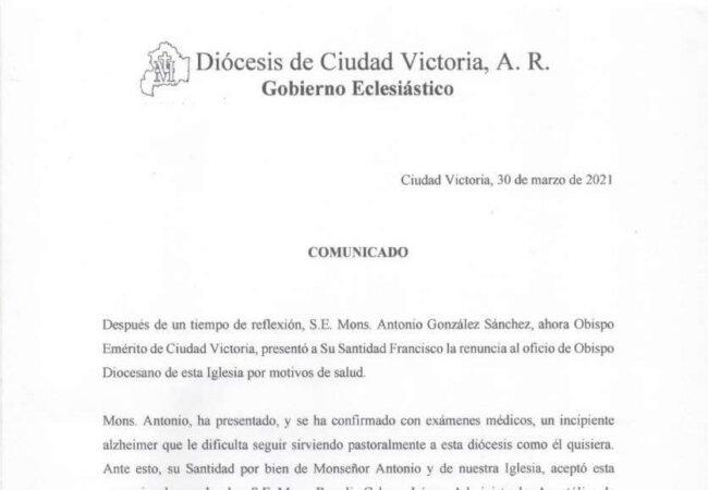 Comunicado Oficial de parte de nuestra Diócesis sobre la renuncia de nuestro Obispo emérito Don Antonio González Sánchez.